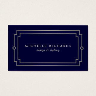 Professional Vintage Art Deco Elegant Silver, Navy Business Card