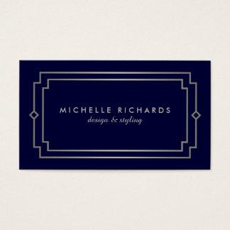 Professional Vintage Art Deco Elegant Silver, Navy Business Card