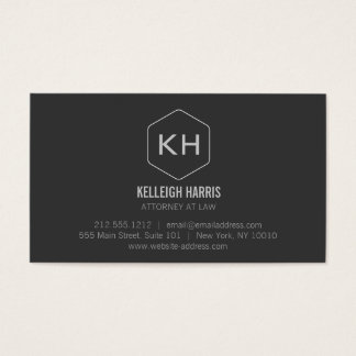 Professional Vintage Gray Monogram Logo Business Card