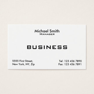 Professional White Plain Elegant Modern Simple Business Card