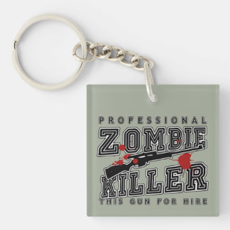 Professional Zombie Killer Double-Sided Square Acrylic Keychain