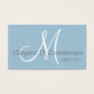 Professionnel décoré d'un monogramme, bleu de ciel cartes de visite