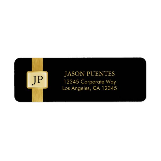Professionnel élégant de noir et d'or étiquette d'adresse retour