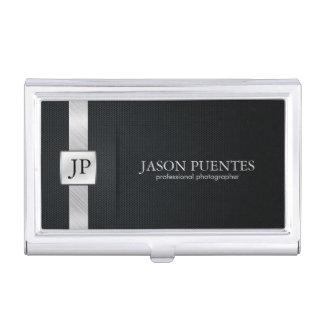 Professionnel noir et argenté élégant porte-cartes de visite