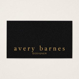 Professionnel simili cuir noir élégant simple cartes de visite