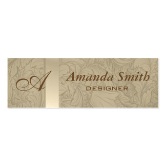 Proffesional elegant floral monogram mini business card