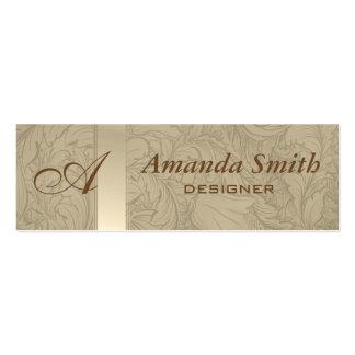 Proffesional elegant floral monogram mini business card