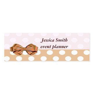 Proffesional elegant modern polka dots golden bow mini business card