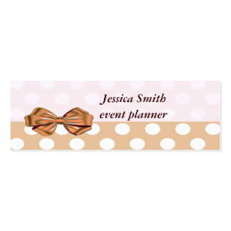 Proffesional elegant modern polka dots golden bow pack of skinny business cards