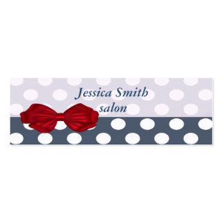 Proffesional elegant modern polka dots red bow mini business card