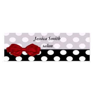 Proffesional elegant modern polka dots red bow mini business card