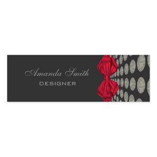 Proffesional elegant polka dots red bow pack of skinny business cards
