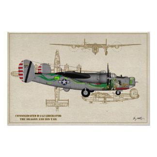 "Profile Art USAAF B-24J Liberator ""Dragon"" Photo Print"