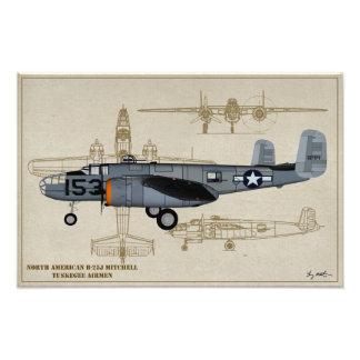 Profile Art USAAF B-25 Mitchell Tuskegee Airmen Photo Print