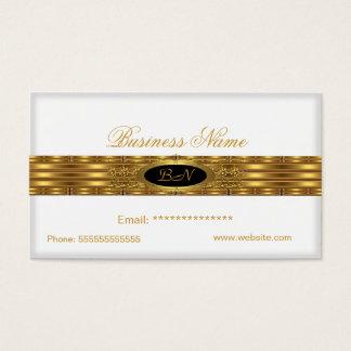 Profile Business White Gold Monogram Black Business Card