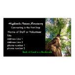profile card, Highlands Nature Sanctuary Business Card Template