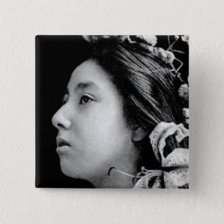 Profile of a Geisha Black and White Beauty Vintage 2 Inch Square Button