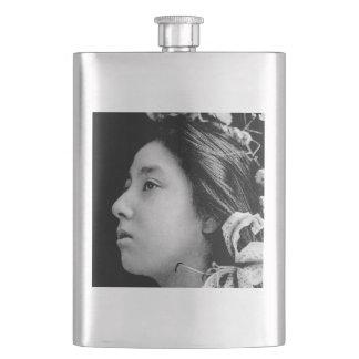 Profile of a Geisha Black and White Beauty Vintage Hip Flask