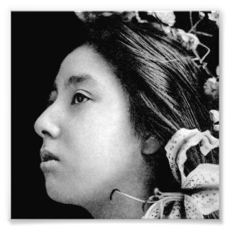 Profile of a Geisha Black and White Beauty Vintage Photo