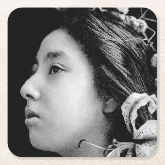 Profile of a Geisha Black and White Beauty Vintage Square Paper Coaster