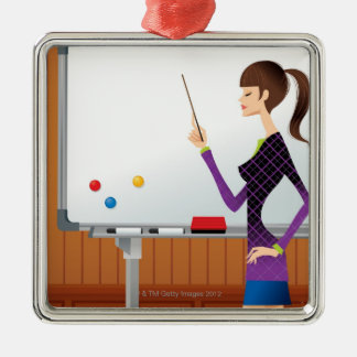 Profile of businesswoman pointing whiteboard metal ornament