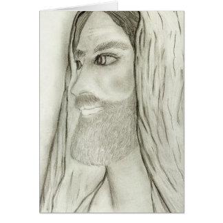 profile of jesus greeting card