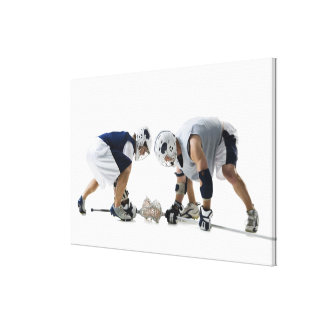 Profile of two young men playing lacrosse gallery wrapped canvas