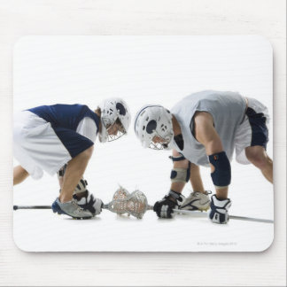 Profile of two young men playing lacrosse mouse pad