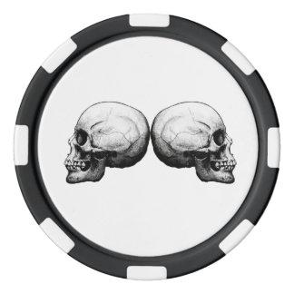 Profile Skull Black and White Poker Chips
