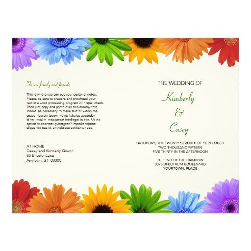 Programme de mariage de bouquet d'arc-en-ciel tract