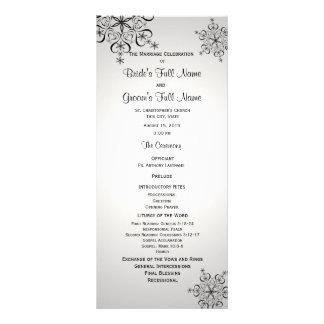 Programme de mariage de gris argenté de flocon de cartes doubles