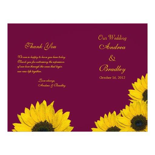 Programme de mariage de jaune de vin de tournesol tract personnalisé