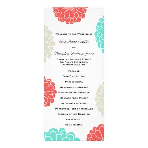 Programme de mariage de turquoise et de fleur de Z Double Cartes Customisées