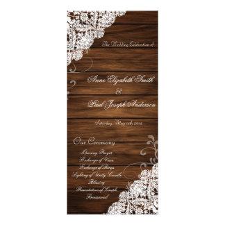 Programme de mariage en bois et de dentelle de gra double cartes customisées