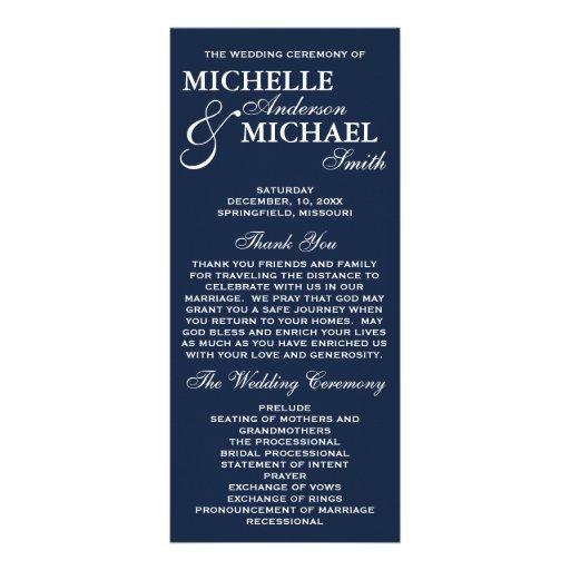 Programme élégant simple de mariage cartes doubles