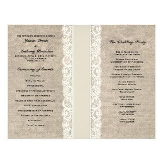 Programme en ivoire rustique de mariage de ruban d prospectus 21,6 cm x 24,94 cm