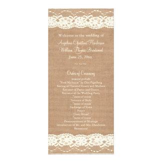 Programme en ivoire vintage de mariage de toile de double carte en  couleur