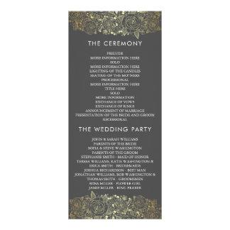 Programme floral chic d'or et de mariage du gris |