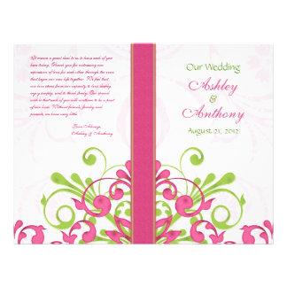 Programme floral de mariage d abrégé sur vert rose