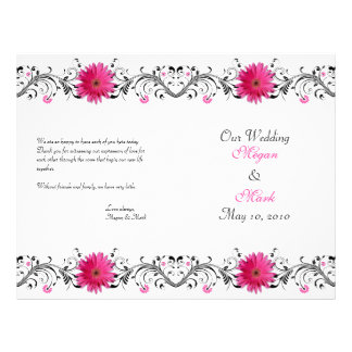 Programme floral de mariage de marguerite rose de  prospectus 21,6 cm x 24,94 cm