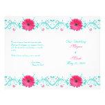 Programme floral de mariage de marguerite rose de  prospectus