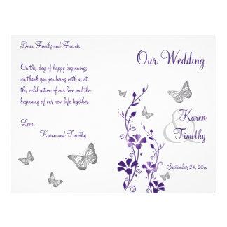 Programme floral de mariage de papillon argenté po