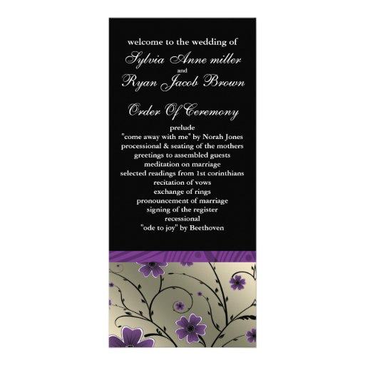 programme floral violet et noir en ivoire de double carte personnalisée