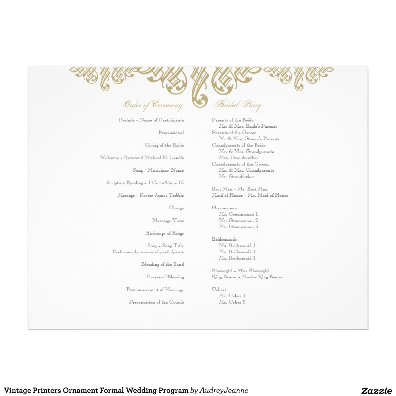 Programmes de mariage Vintage