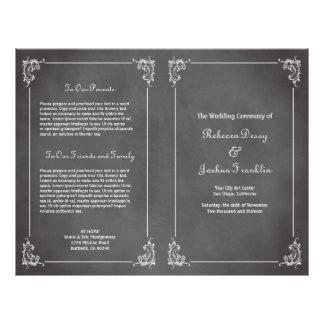 Programme gris romantique vintage de mariage de ta tract customisé