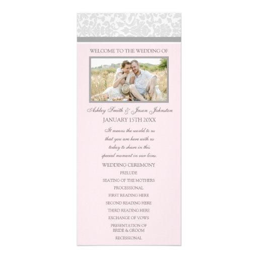 Programme gris rose de mariage de photo de damassé motif pour double carte
