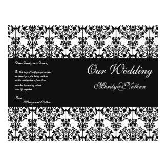 Programme noir et blanc de mariage damassé prospectus 21,6 cm x 24,94 cm
