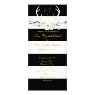 Programme noir et blanc floral de rayures d'andoui carte double customisable