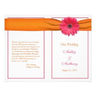Programme orange de mariage de ruban de marguerite
