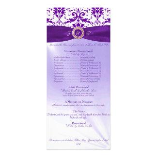 Programme pourpre de cérémonie de mariage motif pour double carte